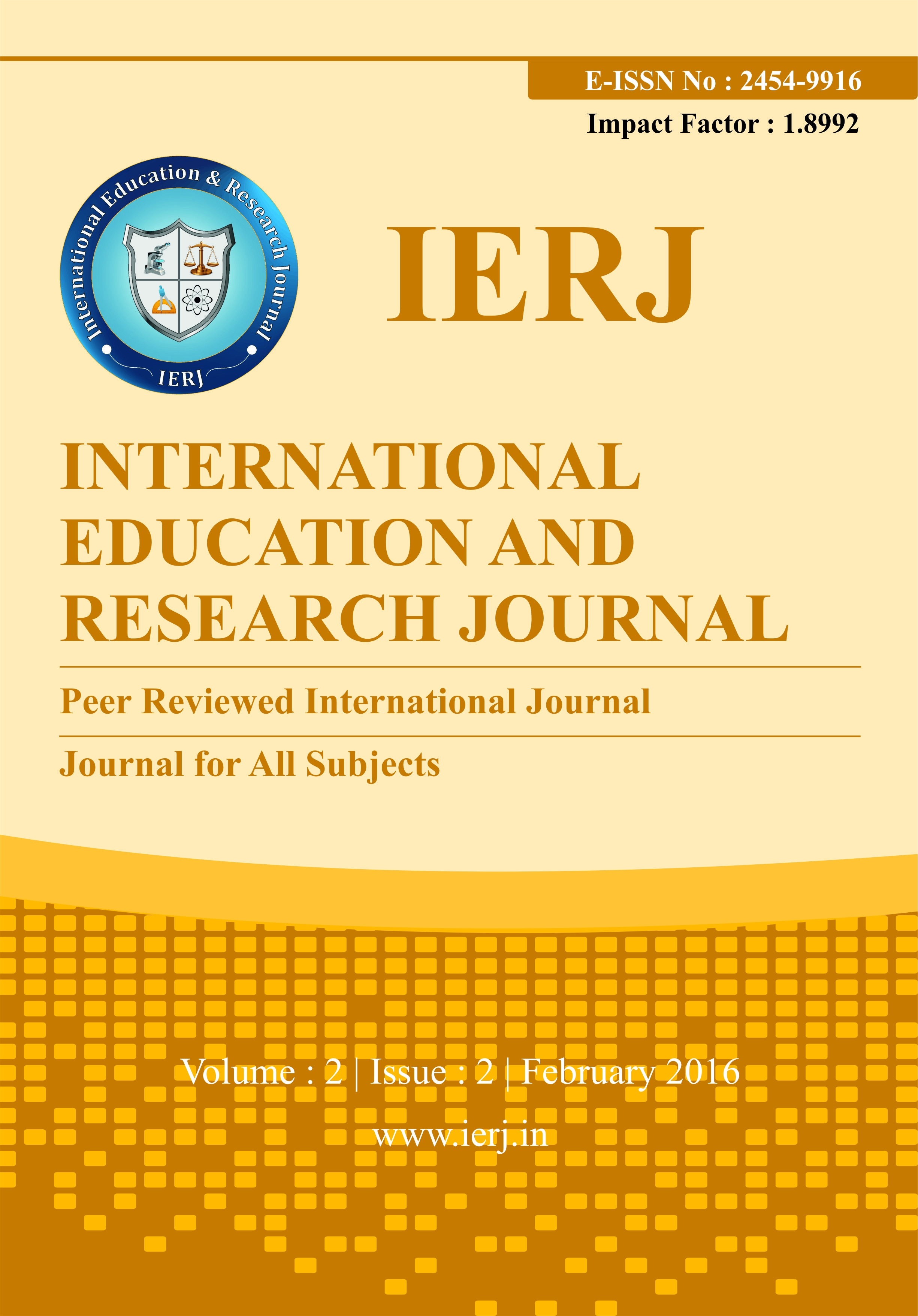 Journal: International Education and Research Journal