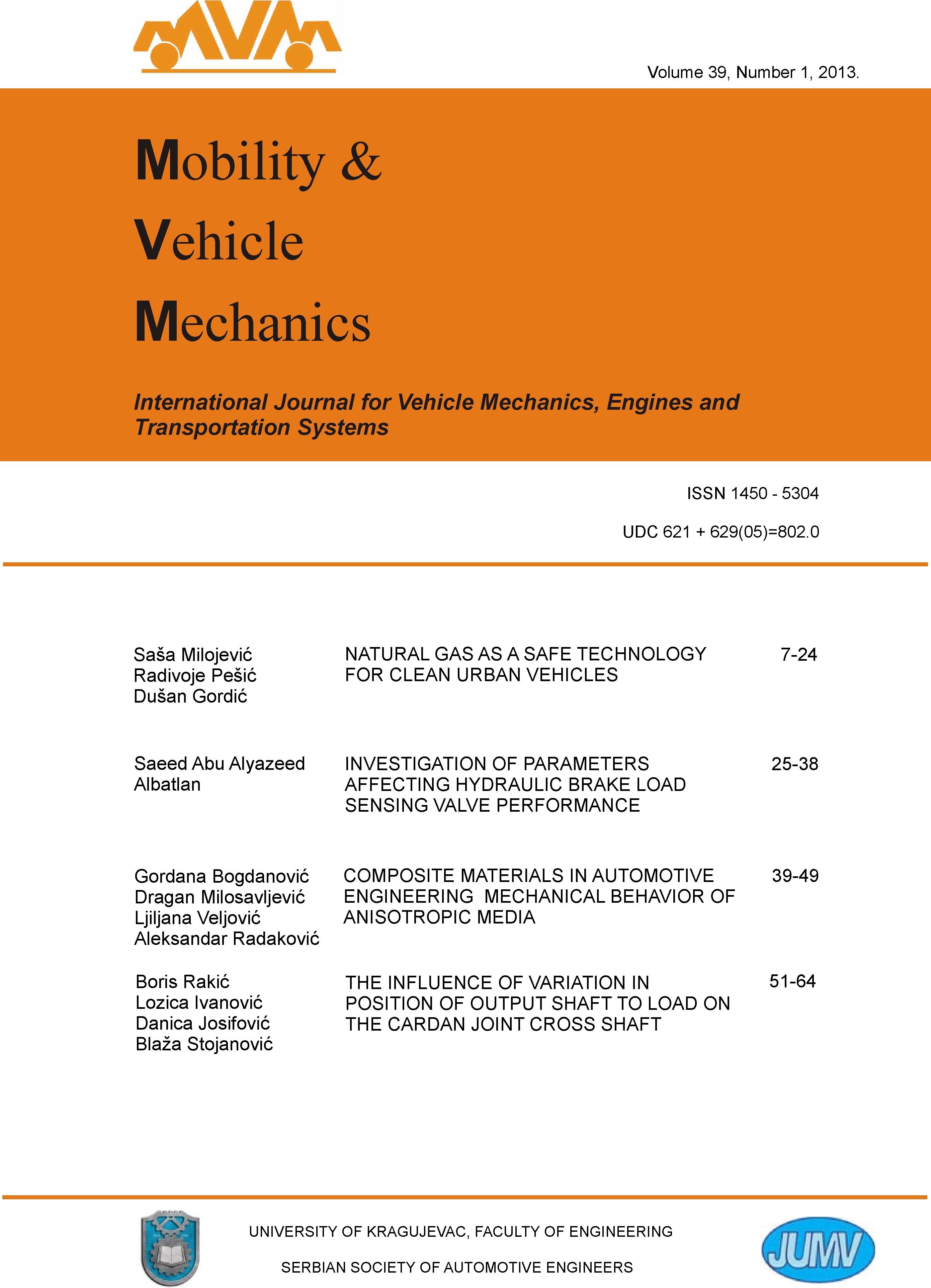 Journal: Mobility and Vehicle Mechanics